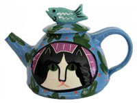 Cat Teapot with Fish